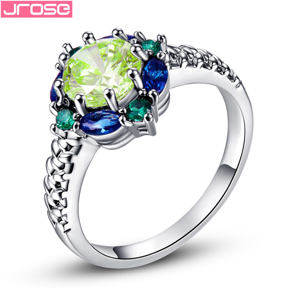JROSE Partihandel Hot Engagement Round Cut Blue & Green CZ Vitguld Färgring Storlek 6 7 8 9 10 11 12 13 Hot Sale Mode smycken