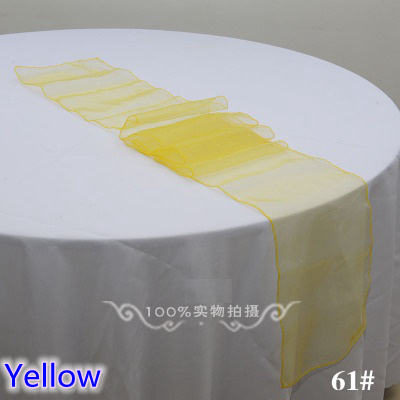 Yellow Colour Organza Table Runner Crystal Organza Table Decoration Wedding Hotel Home Banquet Party Tablecloth Runner