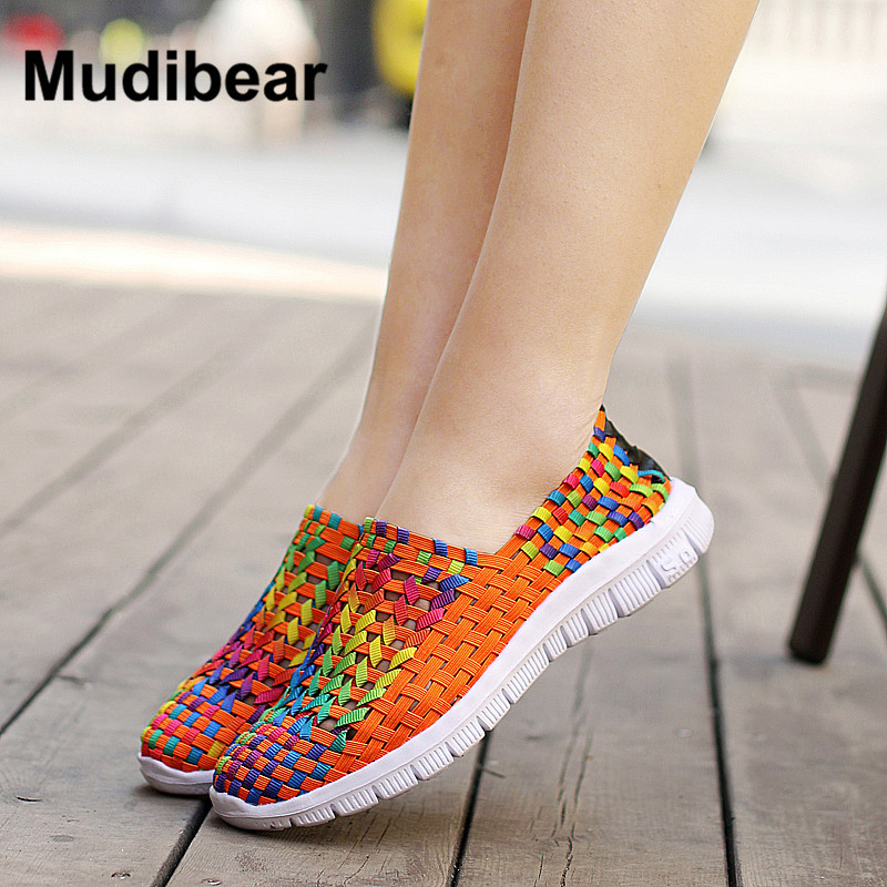 Mudibear 2017 spring Women Flats casual loafers shoes female Sweet Candy Colors walking shoes woven for ladies shoes Size 35-40 цена и фото