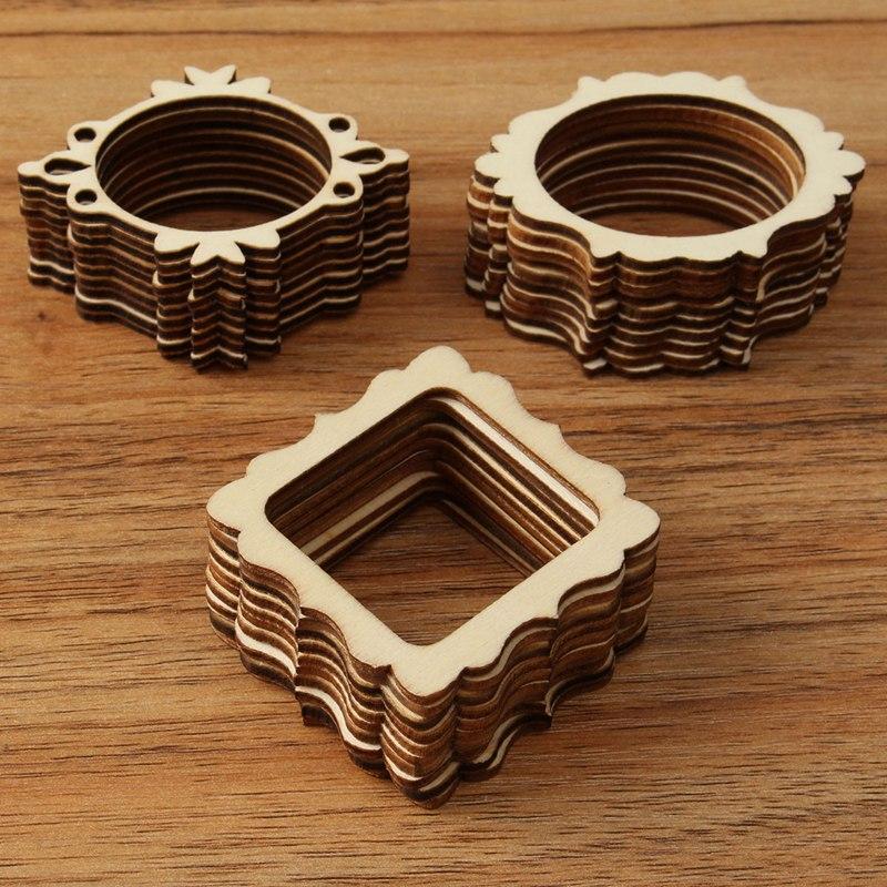 30 unids/set inacabado Marcos madera tallada artesanía Adornos ...