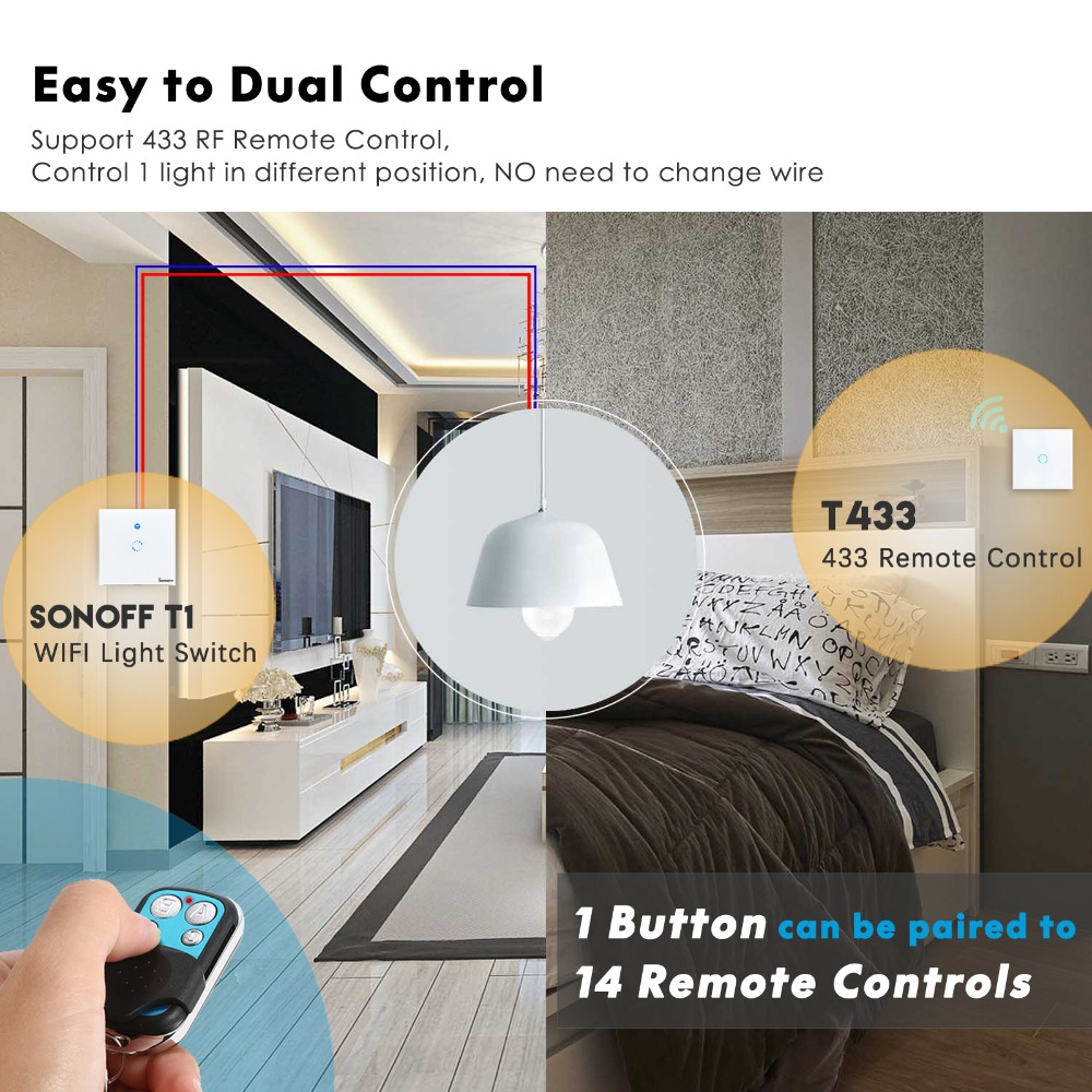 Sonoff T1 EU Smart Wifi Light Switch Glass Panel Wall light Switch 433 RF  Ewelink APP Voice Control with Alexa Google Home
