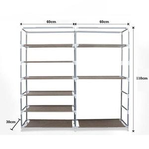 Image 5 - Grande capacidade sapatos armário de armazenamento fileiras duplas sapatos organizador rack de móveis para casa diy à prova de poeira sapatos prateleiras espaço saver