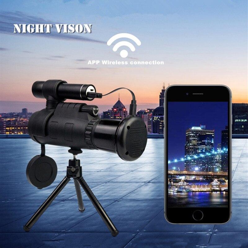 A raggi infrarossi di Visione Notturna del Telescopio Digitale Potente Monoculare 40X60 Zoom Telescopio Monoculare per Smartphone Con Il Treppiedi