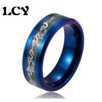 Original Glow In The Dark Ring Silver Dragon Inlay Luminous Ring Men Stainless Steel Tungsten Steel