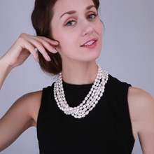 JYX Freshwater Cultured White Pearl Necklace 7.5*11mm Oval Shape Multi Row Wedding Party