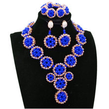 4UJewelry Nigerian Wedding Beads Jewelry Set Royal Blue and Gold Dubai Necklace Set Women African Beaded Balls Free Shipping(China)
