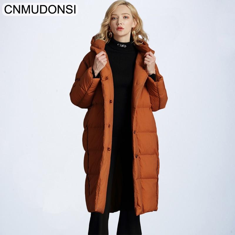 Brand Elegant 2018 Winter Jackets Women Fluffy Duck   Down     Coat   Women Vintage Long Warm Hooded Loose Snow Outwear Plus Size