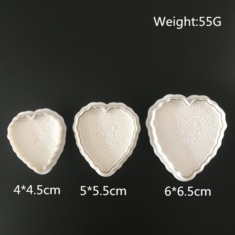 Latest Collection Of 3pcs Heart Cake Fondant Cookie Cutter Decorating Craft Paste Plunger Mold Cake Decorating Mold Bakeware
