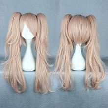 Danganronpa Enoshima Junko Cosplay Wig Long Curly Heat Resistant Synthetic Hair Claw Clip Ponytail Black White Bear Clip Pink цена 2017