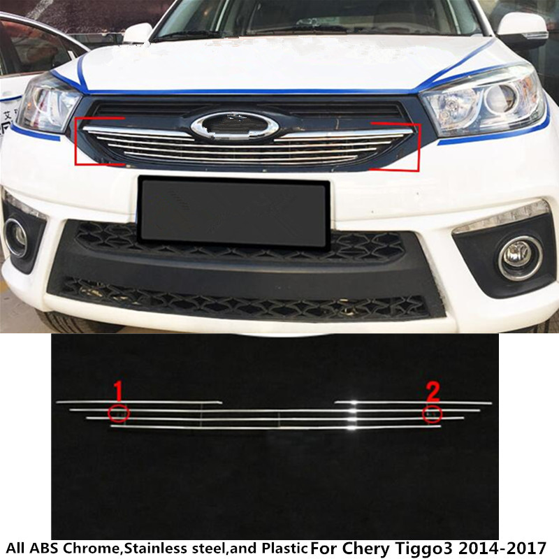For Chery Tiggo3 Tiggo 3 2014 2015 2016 2017 auto body protection detector stainless steel trim racing Grid Grill Grille panel цена и фото