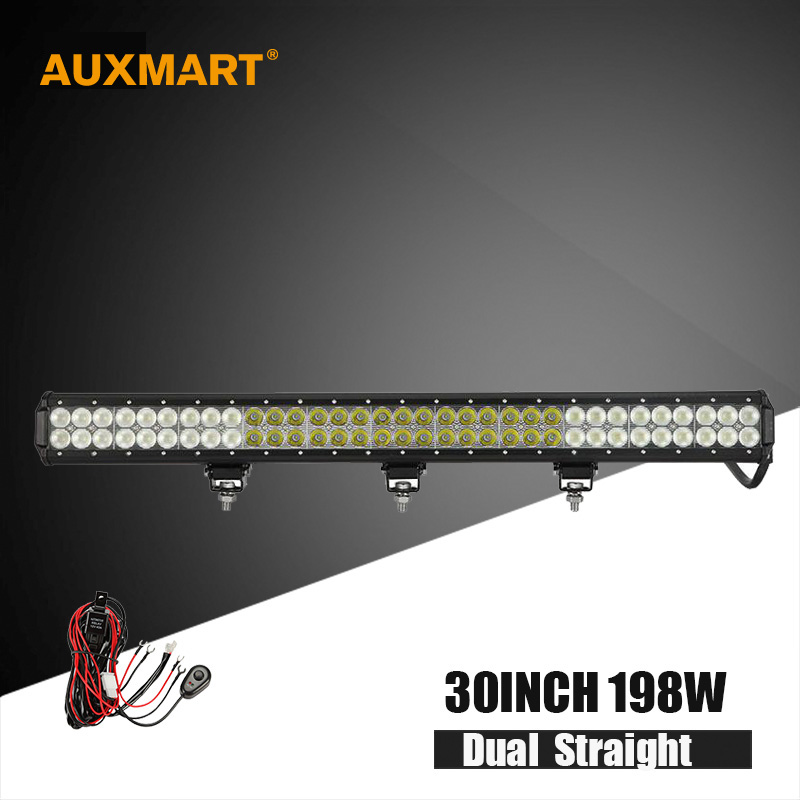 Auxmart Cree chips 30 198w LED work Light Bar flood spot combo beam Offroad led bar Truck trailer camp 4x4 4WD ATV SUV 12v 24v auxmart 42inch 400w cree 5d chips led light bar curved offroad combo beam 7inch 60w flood bar light suv atv 12v 24v 4x4 4wd 2wd