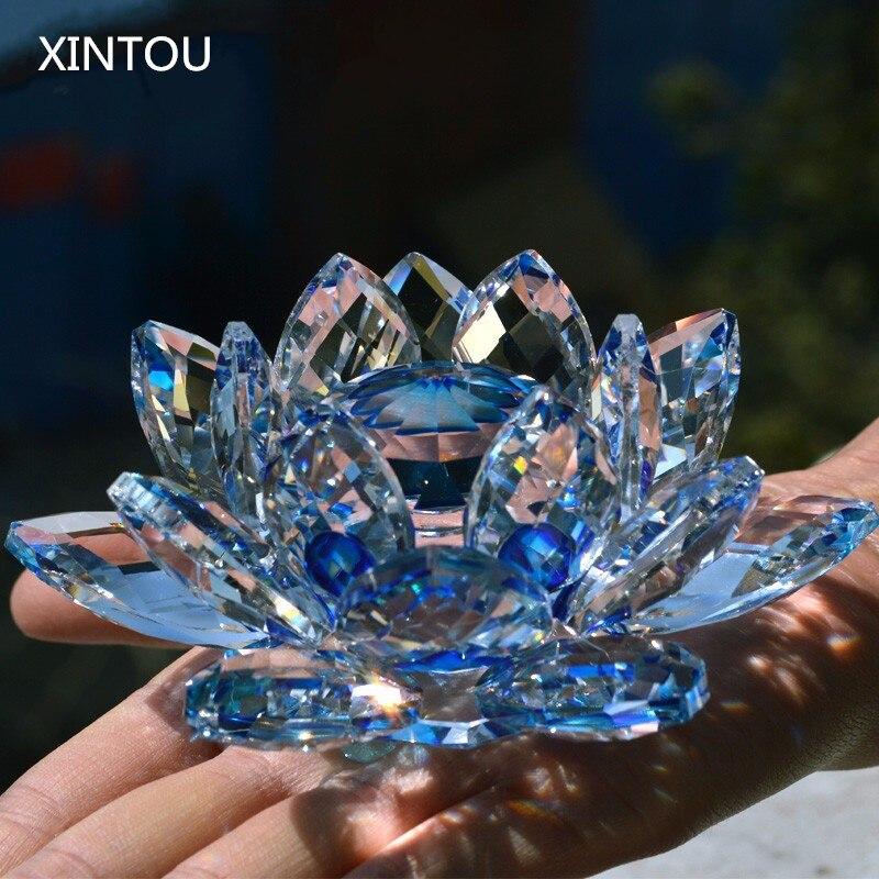 XINTOU Cristal Verre Lotus Fleur Figurine Bleu Feng shui Maison De Mariage Décor arts et Artisanat Ornements De Noël Vente Souvenirs