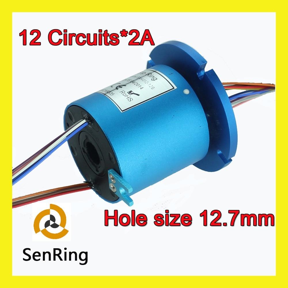 Bride de SENRING montant 12.7mm avec 12 circuits signal de bague collectrice de trou traversant, joint rotatif