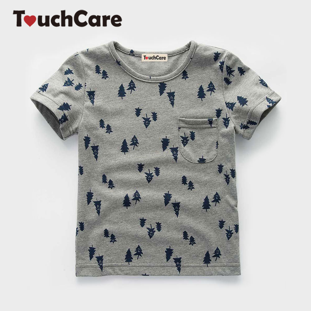 Touchcare Self-designed Newborn Baby Boy T Shirt Short Sleeve Pocket Baby Top Clothes Summer Cartoon Print Baby T-shirts