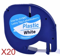 20 compatível dymo letratag 91201 preto em branco (12mm x 4 m) fitas de etiquetas plásticas para LT 100H  LT 100T  LT 110T  qx 50  xr  xm |Cartuchos de tinta| |  -
