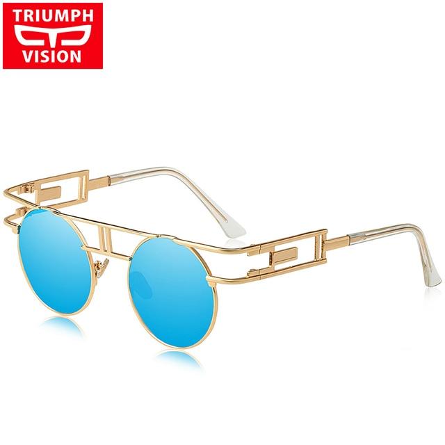 6c00502546 TRIUMPH VISION Female Vintage Gothic Sunglasses For Women Steampunk Style  New Sun glasses Female Mirror UV400 Oculos Metal Frame