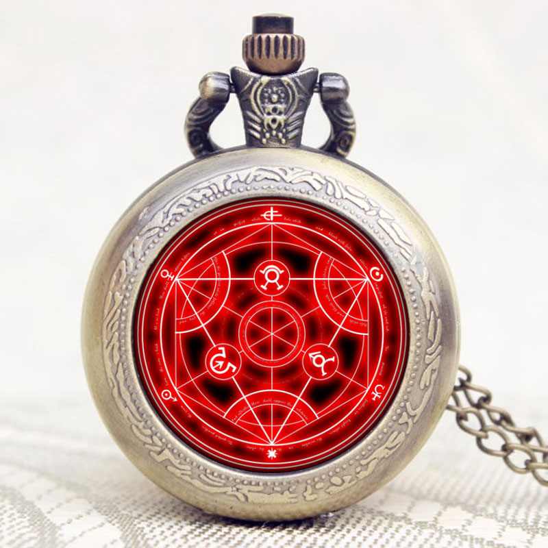 купить Antique Fullmetal Alchemist Case Bronze Pocket Watch With Chian Necklace Christmas & Birthday Gift по цене 309.96 рублей