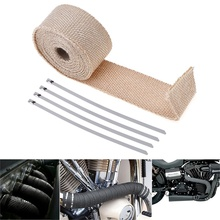 5m Motorcycle Exhaust Header Pipe Tape Wrap Heat Manifold Insulation Cloth Roll with 4 Stainless Fixed Ties for Motor