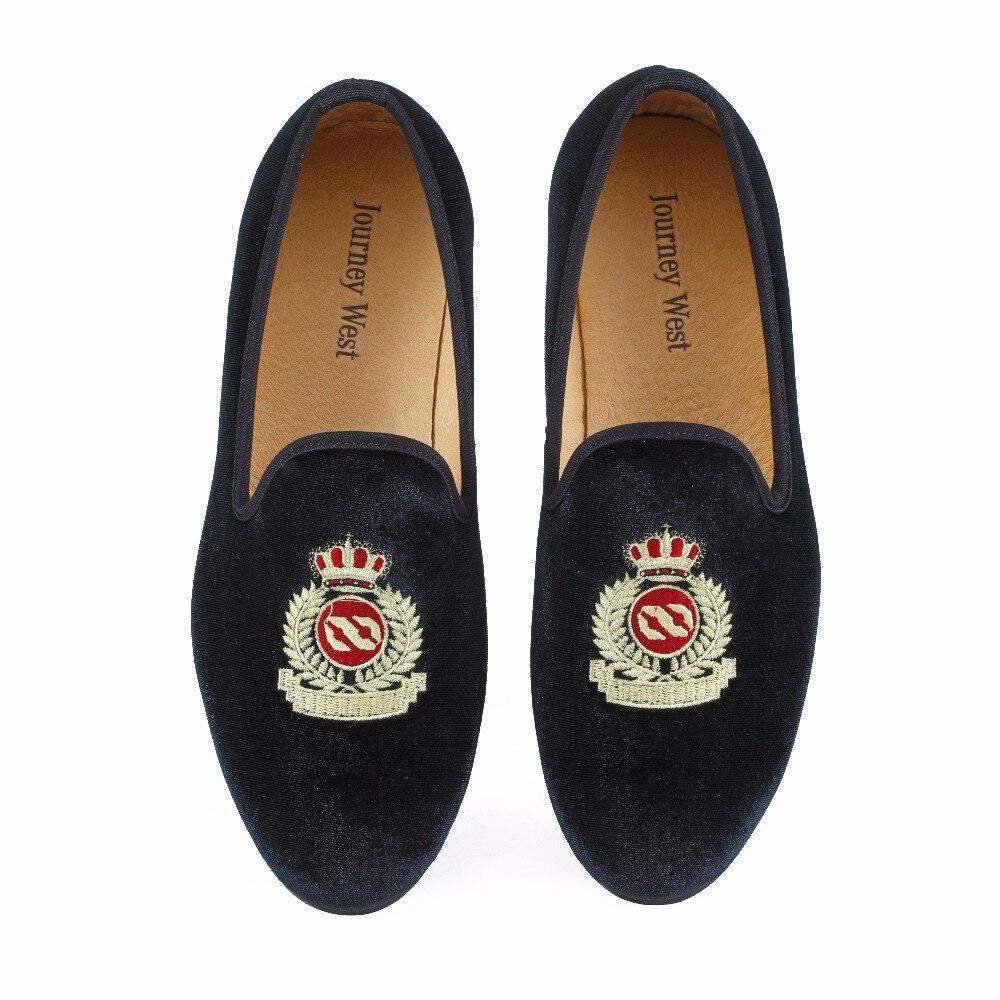 Nouveau Mode Hommes Velours Mocassins Noir Chaussures De Mariage De Bal Robe Chaussures Fumer Pantoufles avec La Couronne À La Main Hommes Appartements de Taille 7-13