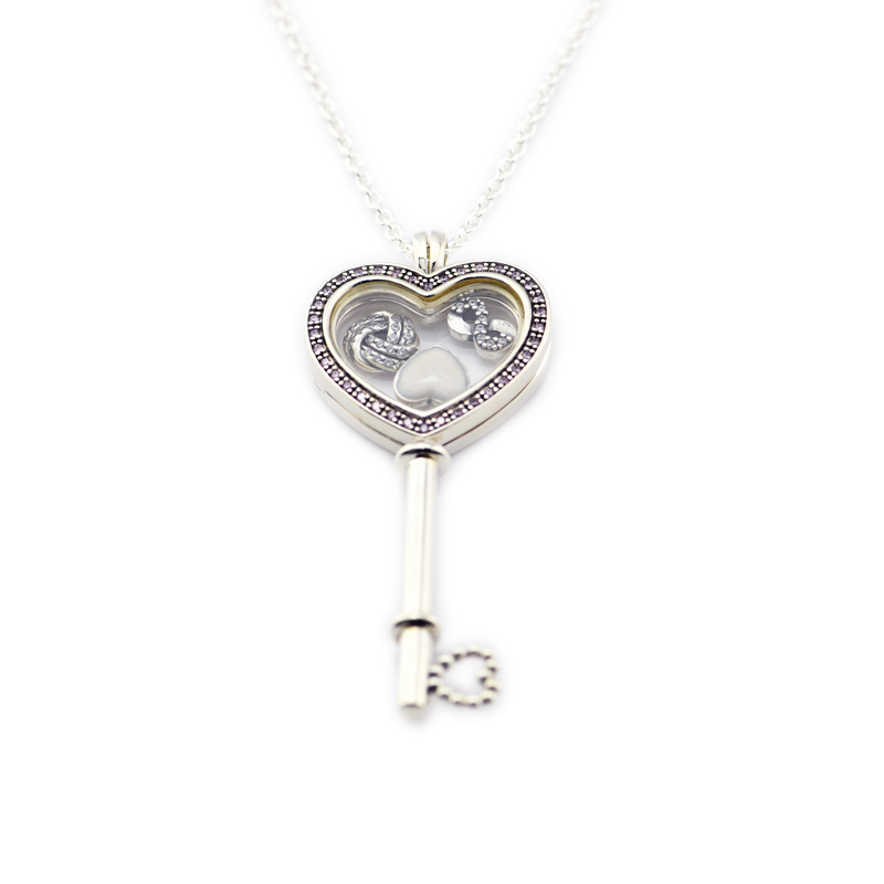 925 Sterling Silver Jewelry Large Floating Locket Heart Key Pendant and Necklace with 3pcs Petites & Pink CZ charm Free Shipping bisaer 7pcs 925 sterling silver heart key and locket heart pendant brand charm bracelet for women wedding silver bangle gxb811