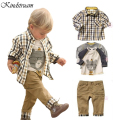 2016 New Spring Kids 3pcs Clothing Sets for Boys European Style Plaid Character Suits T shirt+Shirt+Retro Jeans Casual Set,YC020