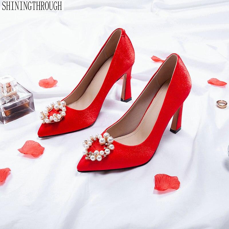 Punta Mujeres Superestrella Las Estilo Zapatos La Alto Baja Boda Mujer rojo De Rosado Seda Cristal Tacón wxtqSdXC