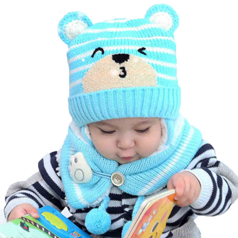 Winter Baby Girl Hat Scarf Set For Children Boys Kids Cartoon Bear Stripe Knit Ear Beanie Cap And Button Paw Scarves Warm Suit