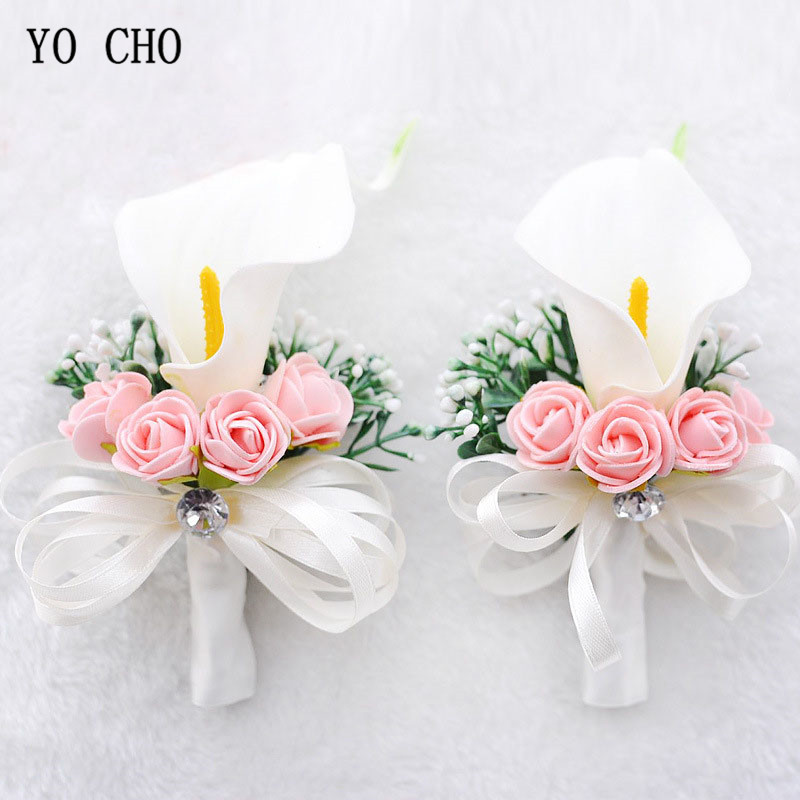 YO CHO Boutonnieres Roses Wrist Flower For Bride White Pink Wrist Corsages Bracelet Calla Lily Boutonniere Groom Wedding Corsage