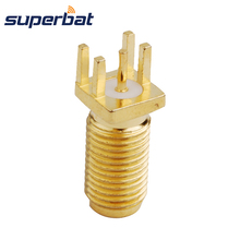 Superbat RP-SMA End Launch Jack(male in) PCB Mount 0.062'' (1.57mm) Long Version Fiber SMA Connector for GPS Wi-Fi DAB Antenna
