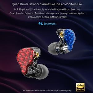 Image 2 - FiiO FA7 היי Res נואלס Quad נהג אבזור מאוזן HiFi באוזן אוזניות מוניטורים עם MMCX להסרה כבל DLP 3D מודפס