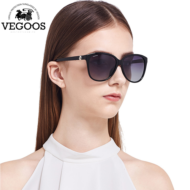 a560f4a10a VEGOOS Brand Design Resin Wrap Metal Cat Eye Glasses Vintage Flash Mirror  Lens Sunglasses Women Men