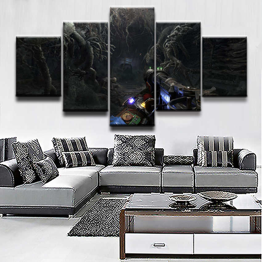 5 Pieces Game Metro Exodus Poster Canvas Printed  Painting Modular Pictures Modern Home Decorative Framework Wall Art Figure