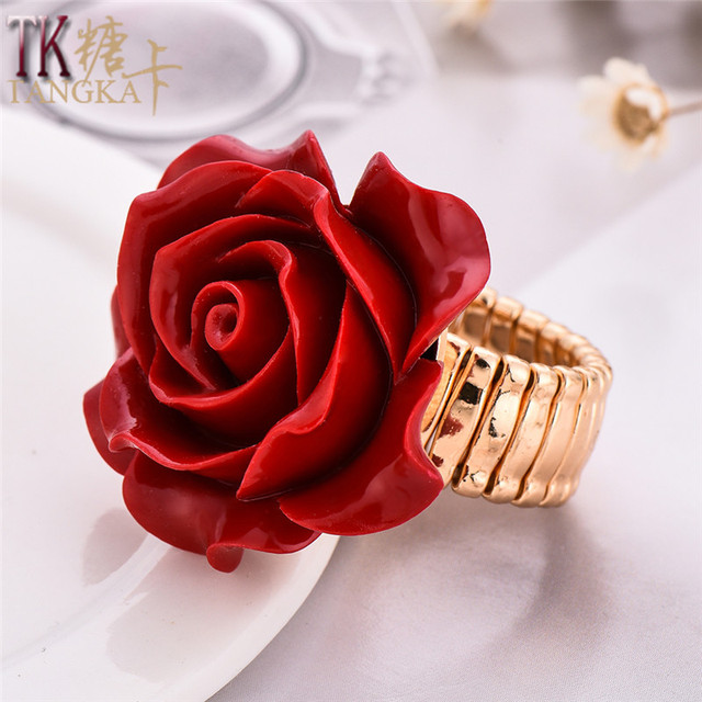 Aliexpresscom Buy TANGKA top romantic red rose copper ring Cubic