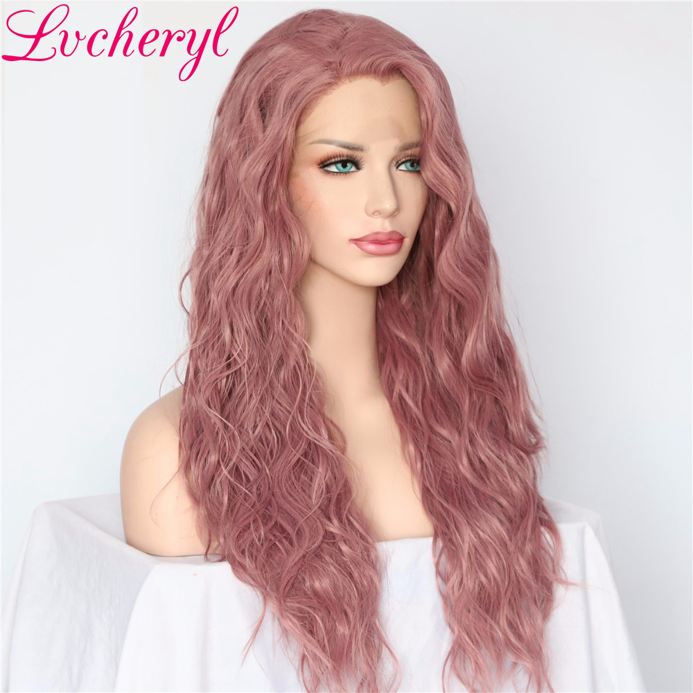 Lvcheryl New Mixed Purple Color Natural Water Wave Hair wigs Heat Resistant Hair Glueless Synthetic Lace