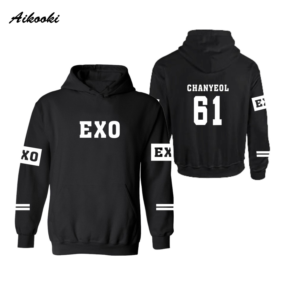 Aikooki Exo Kpop Hooded Men Women Hoodies Sweatshirts Lay Luhan Kai
