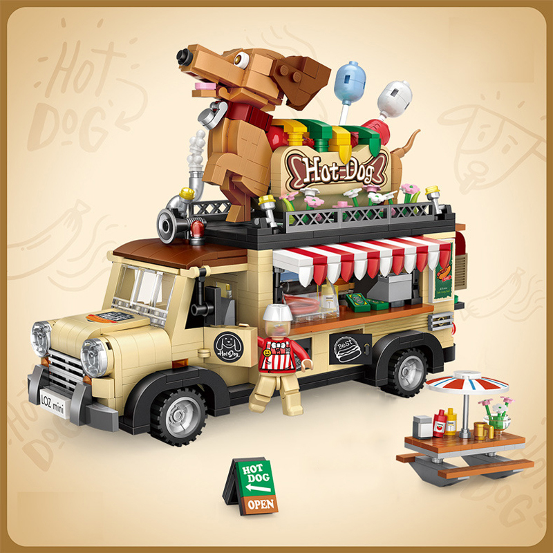 Loz Clasic Mini Building Blocks Duplo Bricks Police House Set Gift Toys For Children Kids Block Game Mechanical Racing Boy Car Hot Dog Cart Car Vehicle Assemable Kids  Educational Toys For Children Creator Ice Cream