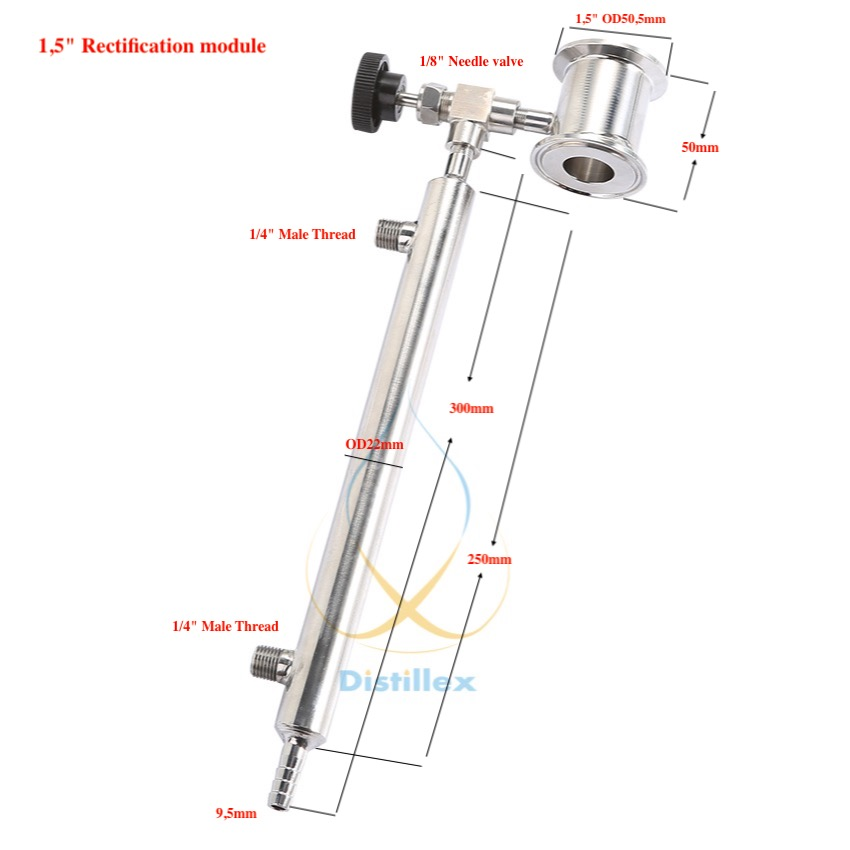 1,5 OD50.5mm Узел отбора с конденсатором, Ректификация, Нержавеющая Сталь 304