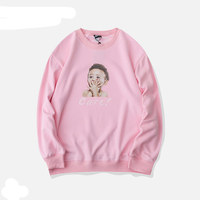 Spring Freestyle Baby Pattern Pink Sweatshirt Women Casual Loose Autumn Thicker Pullovers Hip Hop Style