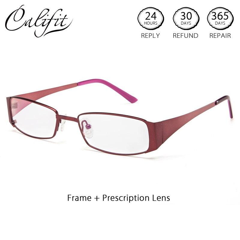 CALIFIT mode tendance lunettes optiques femmes avec lentille myopie rose ultraléger titane mince cadre lunettes femme lunettes