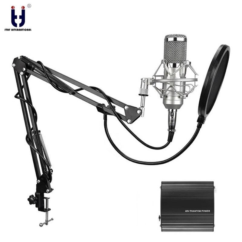Ituf BM-800 Studio Professionale Microfono A Condensatore e FM-35 di Registrazione Regolabile Mic Sospensione Braccio di Supporto con Shock Mount KIT BM 800