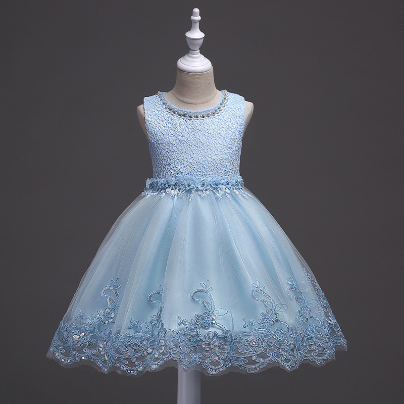 3-10years Princess Girls Flower Sequins Dress Birthday Party Beading Lace Princess Dress Sequin Children Kids Clothes 4 Color hot sale halter beading sequins short homecoming dress