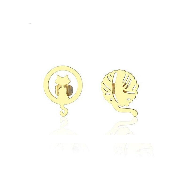 Cat Stud Earrings Stainless Steel Cute Animal for Girls Women Hypoallergenic Jewelry