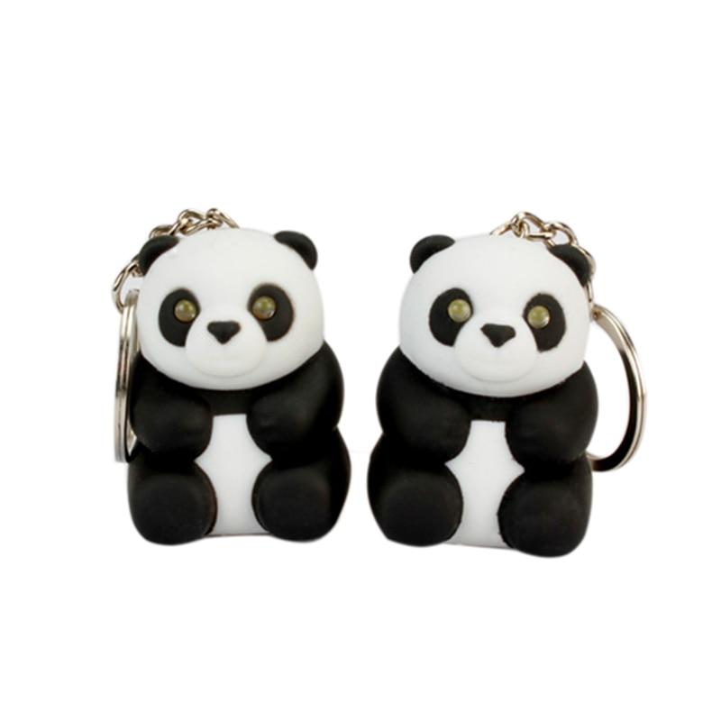 1pcs Hot Sale Cute Lovely Panda Sound LED Flashlight Keychain China National treasure Pendant Toy Gift For Friends Keyrings