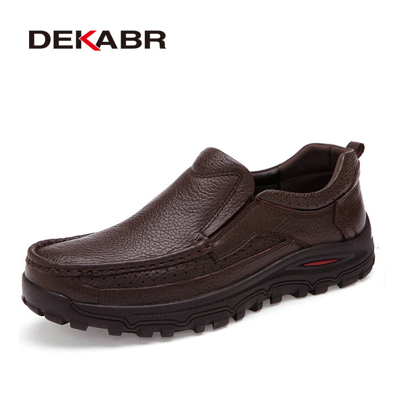 DEKABR 2019 Flats New Arrival Authentic Brand Casual Men Genuine Leather Loafers Shoes Plus size 38-48 Handmade Moccasins Shoes