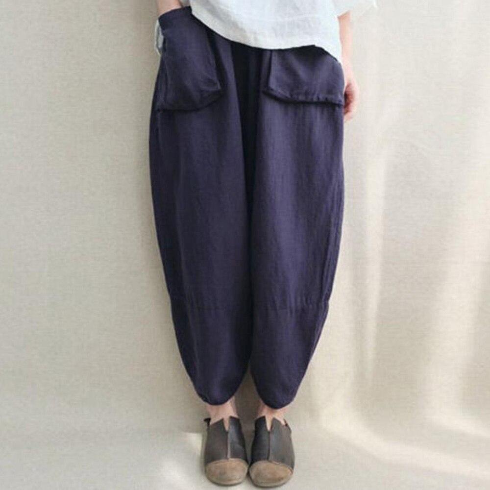 Plus Size Cotton Linen Trousers Women Casual High Waist Loose Baggy Harem   Pants   Pocket Summer Long   Wide     Leg     Pants   Pantalon Femme