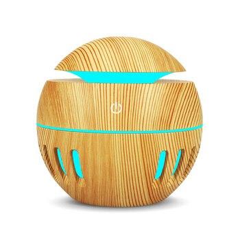 Difusor de Aroma de grano de madera USB de 130 ml, humidificador de niebla fría ultrasónico, purificador de aire con luz nocturna de cambio de 7 colores LED para el hogar
