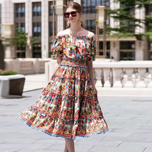 Slesh 2019 Vestidos ネックフラワープリントフリルエレガントなミディドレス
