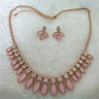 Девушка любовь оптовая продажа из Китая розовый кристалл набор ювелирных изделий