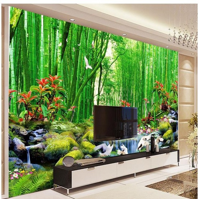 Beibehang hd bamboo murals tv backdrop 3d wall murals for Bamboo mural wallpaper