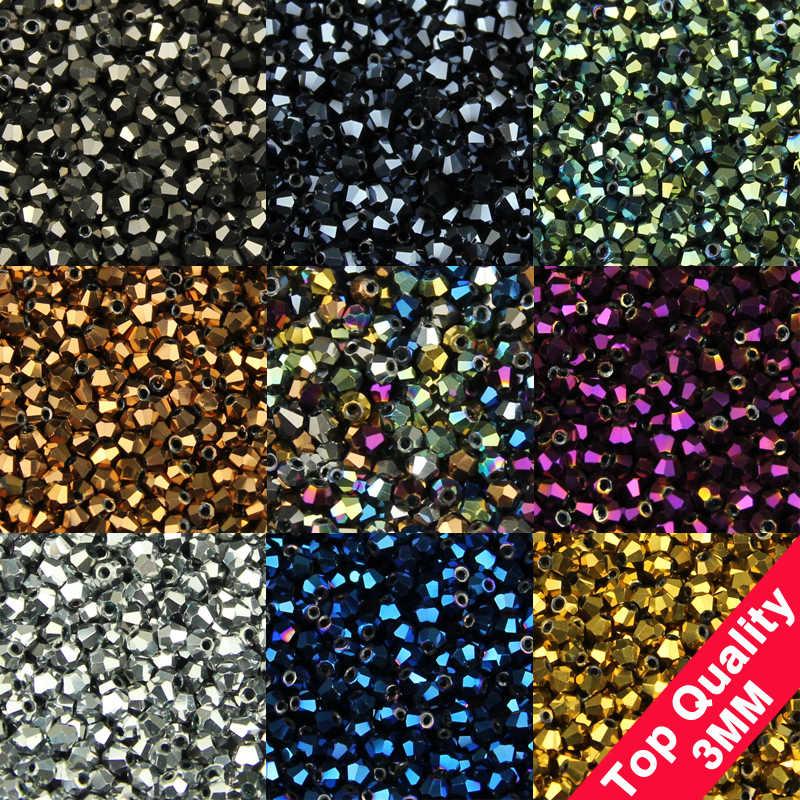 Jhnby 3 Mm 200 Pcs AAA Bicone Austria Kristal Manik-manik Longgar Bola Supply Warna Permukaan Plating Kalung Gelang Perhiasan Membuat DIY